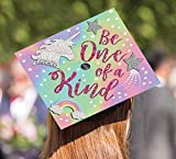 Amscan Be One Of A Kind Unicorn Glitter and Stars Graduation Cap Decoration Sticker, Size, Multicolor