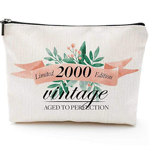 Limited 2000 Edition Vintage Aged to Pereection- Fun 21st Birthday for Women, Gifts for Women Turning 21-Makeup Bag-21st Year Old Present Ideas for Sister Friends Bestie Niece Daughter Aunt, Gift Ideas for 21-Year-Old Females