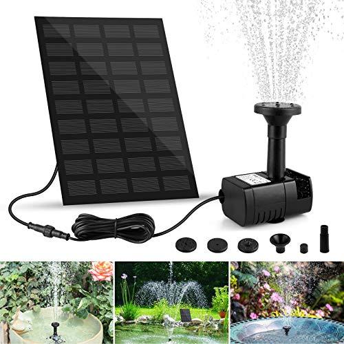 yotame Fontana Solare Pompa da Giardino 1.8 W Solare Fontane per Giardino Acqua con 6 Ugelli Pompa Solare per Laghetto, Piscina, Giardino, Stagno, Decorazione del Giardino