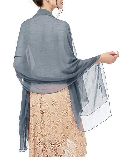 bridesmay bridesmay Damen Strand Scarves Sonnenschutz Schal Sommer Tuch Stola für Kleider in 29 Farben Smoke Grey