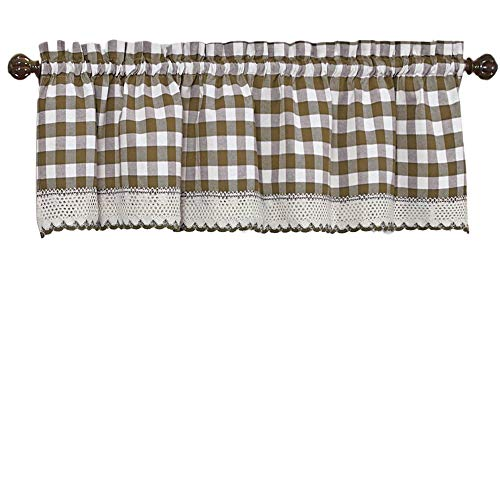 Woven Trends Designer Home Window Panel Curtain Drape Valance Scarf Gingham Checked Checkered Plaid Taupe - 58