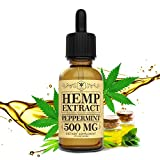 Hemp Oil 500mg for Pain Relief, Stress and Anxiety Relief, Better Sleep | 100% Natural, Organic, Vegan, Non-GMO | 500mg, 30 Serv, 16mg/Serv (Peppermint)