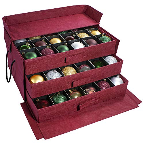 612 Vermont Christmas Ornament Storage Box with 3 Slide Out Trays, Adjustable Acid-Free Dividers, 20 Inch x 14 Inch x 10 Inch, Holds 72-3 Inch Ornaments