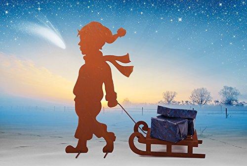 in-outdoorshop Edelrost Winterdeko, Weihnachten, Bub mit Schlitten auf Querstange, H 80cm x B 90cm Weihnachten