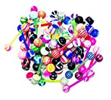 100pcs Tongue Rings Acrylic Candy Assorted Flexible 14g Barbells for Women Girls Body Piercing Jewelry
