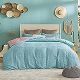 Bedsure Striped Duvet Cover Queen Size - Green Duvet Cover Boho, Classic Farmhouse Textured Duvet Cover Set 3 Pieces, 1 Duvet Cover 2 Pillow Shams, 90x90 inches, Green and Pink