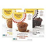 Simple Mills Almond Flour Mix Variety Pack:, (1) Banana Muffin & Bread, (1) Chocolate Muffin & Cake, (1) Pumpkin Muffin & Bread, 3 Count, Combo 1 (PACKAGING MAY VARY)
