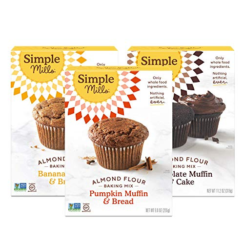 Simple Mills Almond Flour Mix Variety Pack:, (1) Banana Muffin & Bread, (1) Chocolate Muffin & Cake, (1) Pumpkin Muffin & Bread, 3 Count, Combo 1 (PACKAGING MAY VARY) (Best Banana Cream Pie Recipe Paula Deen)
