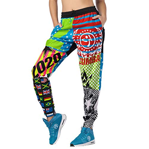 Zumba Aktiv Dance Sport Fitness Jogginghose Stilvoll Gym Lockere Hosen Damen, Bold Black 4, S