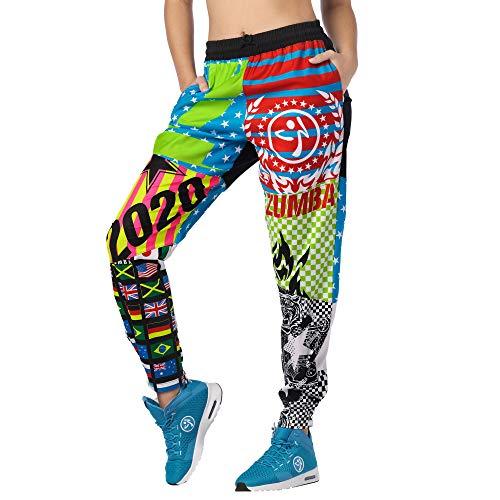 Zumba Aktiv Dance Sport Fitness Jogginghose Stilvoll Gym Lockere Hosen Damen, Bold Black 4, S