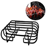 Porcelain Coated Steel Roasting Rib Rack for Weber, Charbroil, Kenmore, Master Forge, Big Green Egg, Traeger, Non-Stick 4 Rib Roasting Rack for BBQ Grilling Smoking