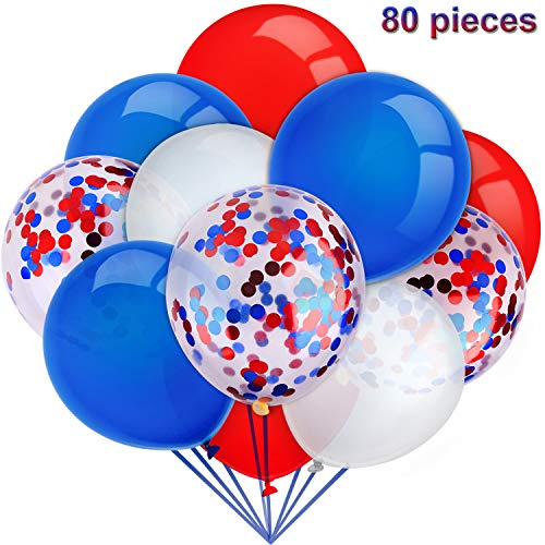 80 Pieces Independence Day Balloons Set Confetti Balloons Latex Balloons for Birthday Baby Shower Wedding Graduation 4th of July Decorations, 12 Inch (Red, Blue, White)