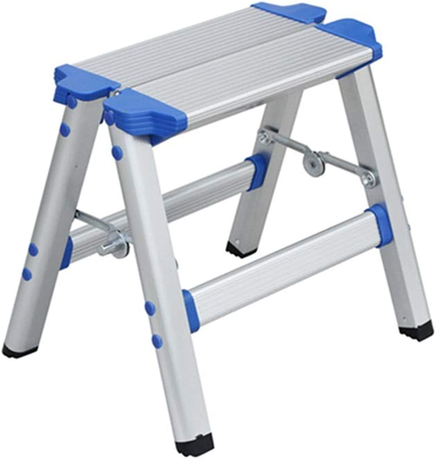 Timber Stool Double Step Stool Folding,Household Aluminum Folding 2 Step Ladder,Lightweight Non Slip Chair Dualuse Pony Stool, For Caravan Motorhome Kitchen