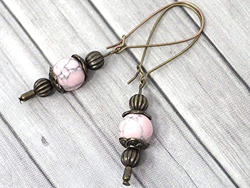 Pendientes Thurcolas de estilo vintage en turquesa rosa reconstituida montados sobre aros de fantasía en bronce antiguo