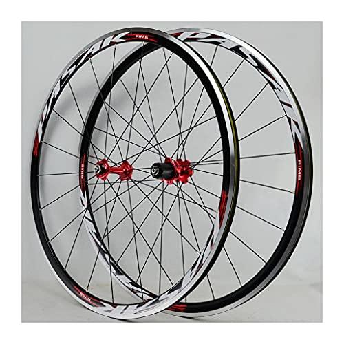 LICHUXIN 700C 30MM Aleación de Aluminio llanta de Doble Pared Liberación Rápida Pasante Freno V/C Ruedas De Bicicleta De Carretera 7-11 Velocidad (Color : Red-2, Size : 700C)