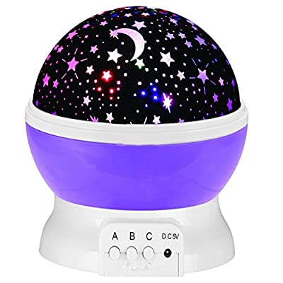 Elikeable [Newest Generation] 4 LED Night Lighting Lamp - Light Up Your Bedroom With This Moon, Star,Sky Romantic LED Nightlight Projector With USB Cable, - Best Gift for Men Women teens kids children sleeping aid