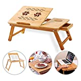 Laptop Notebook Bamboo Table - Foldable, Adjustable Portable Multi-Functional Desk, Serving Tray & Bed Table -...