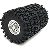 4pcs RC 1.9 Mud Slingers Tires Super Grip Tyres Height 120mm / 4.72inch & Aluminum Alloy 1.9 Heavy Duty Beadlock Wheel Rims Silver Color Hex 12mm