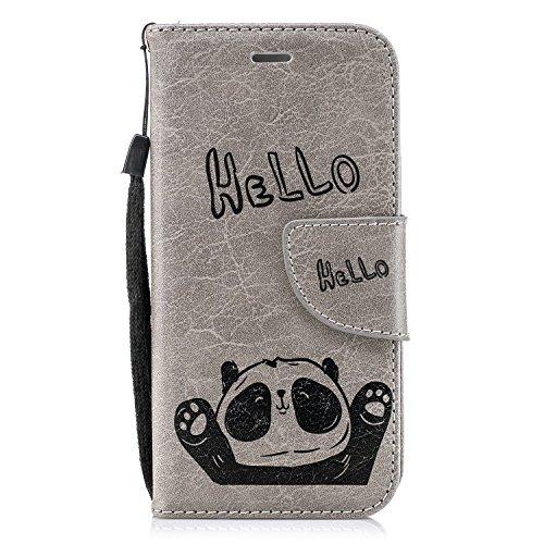 MoreChioce Compatible avec CoqueiphoneSE,Coque Rabat Compatible aveciphone5S, Kawaii Hello Panda Gris Housse à Clapet Etui en Cuir Antichoc Coque Portefeuille Magnétique avec Fentes de Carte