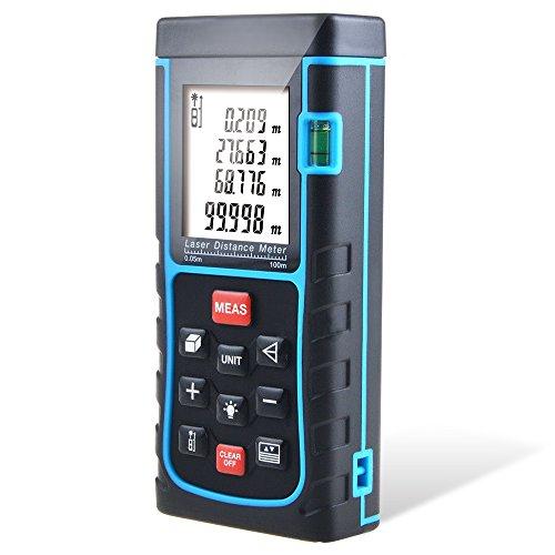 Distance Laser Measurer, CiBest 328ft/100m Portable Laser Distance Meter Rangefinder Finder Handheld Measure Instrument with Min/in/ft, Tape Measure 0.05 to 100m (0.16 to 328ft) (100M)