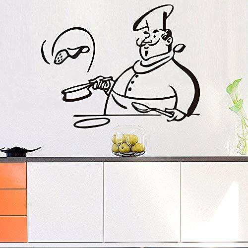 fancjj Cocina Cocinar Chef Etiqueta de La Pared Extraíble para Niños Sala de Estar Ventanas De Vidrio Decoración para El Hogar Gabinete Azulejo Tallado Pegatinas Melestore 43x42cm