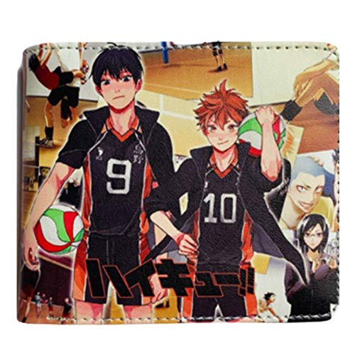 SosoJustgo2 Anime Haikyuu!! Hinata Shoyo Cosplay Wallet Short Section PU Leather Purse Clutch Purse Card&Phone Slots Wallet Anime Fan Collection Gift(02)