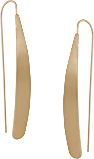 Humble Chic Curved Flat Bar Dangles - Metallic Long Linear Tear-Drop Polished Threader Earrings for Women