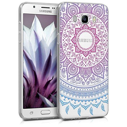 kwmobile Funda Compatible con Samsung Galaxy J7 (2016) - Carcasa de TPU y Sol hindú en Azul/Rosa Fucsia/Transparente