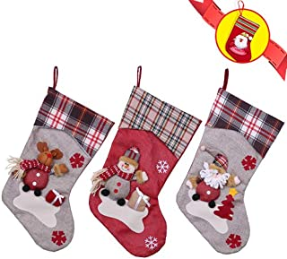 YAMUDA Christmas Stocking, 3Pcs Classic Socks for Xmas Home Decor, Stuffed Christmas Tree Hanging Toys, Candy Gift Bag Holders for Kids, Restaurant Hotel Decorations and Party Supplies (Xmas-01)
