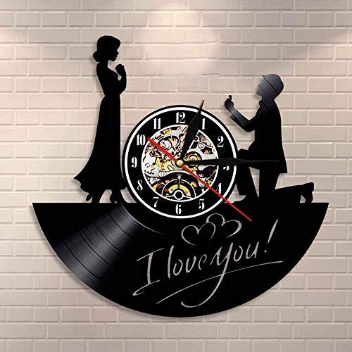 Usmnxo Reloj de pared Marry Me romántico amor boda decoración historia día de San Valentín vintage vinilo disco reloj regalo para ella con luz LED 12 pulgadas (30 cm)