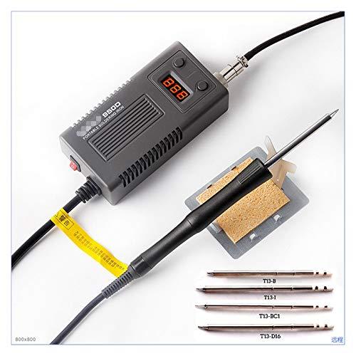 ZRNG 75W Soldadura eléctrica de Hierro Temperatura Ajustable T13 Punta de Soldadura de Hierro Mini Herramientas de reparación de Soldadura portátil (Color : BK950D and T13 Tip, Plug Type : EU)