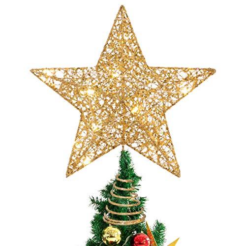 STOBOK Brillante Tree Top Estrella de Navidad Adorno del árbol Ornamentos Copas de los árboles Luces cálida 10 Pulgadas