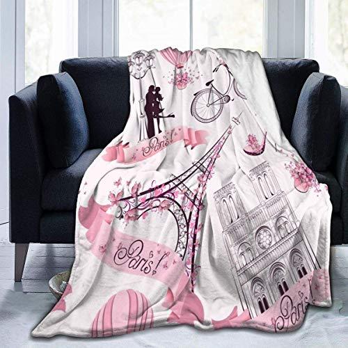 269 Eiffel Kissing Couple Hot Air Balloon Manta de franela para boda, manta de cama como colcha/colcha/funda de cama, suave, ligera, cálida y acogedora para niños y niñas pequeñas (40 x 50 pulgadas)