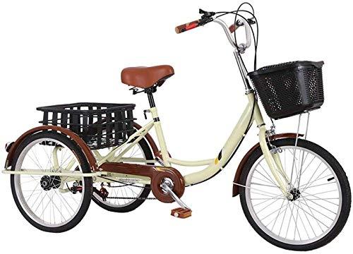 HKPLDE Triciclos para Adultos De Velocidad Variable, Triciclos para Adultos 3 Bicicletas De Ruedas, Tres-Bicicletas De Ruedas Cruise Trike con Cesta De La Compra,Asiento Cómodo Y Engranaje-24pulgada