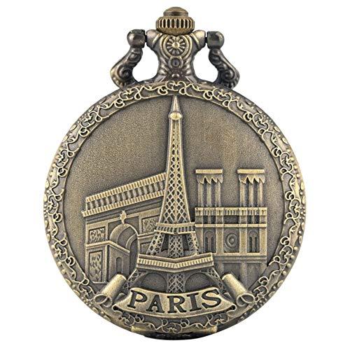 Reloj de Bolsillo de Cuarzo con Pantalla de Torre Eiffel de París, Edificio Famoso, Collar de Bronce Vintage, Colgante, Reloj de Recuerdo, Cadena de 80 cm