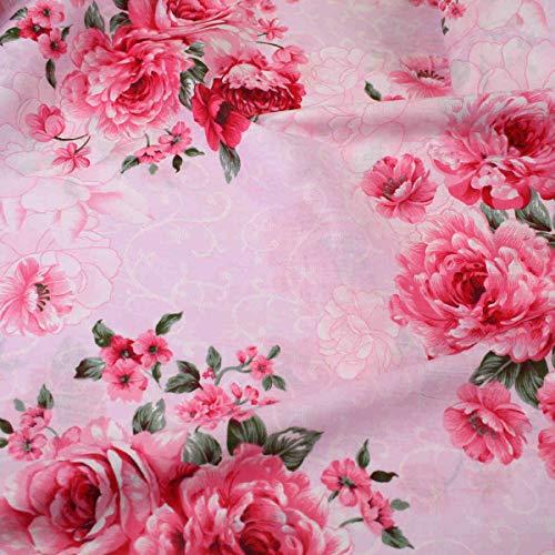 Shabby Chic Rose - Tela de algodón para confección de vestidos (160 cm de ancho, 100% algodón), diseño floral