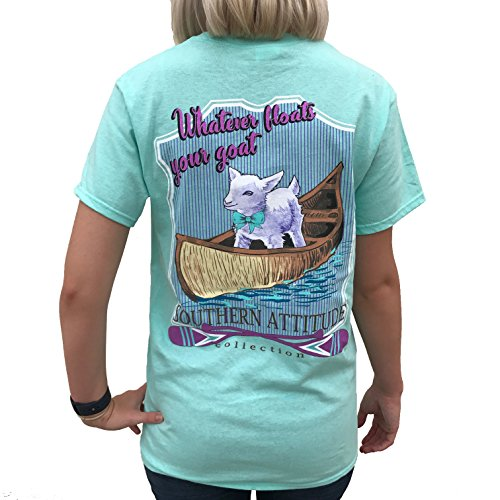 Southern Attitude Whatever Floats Your Goat Seafoam Green Short Sleeve Women's Shirt (Small)
