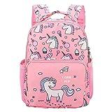 Zaino Bambina,BETOY Unicorno Zaini per Bambini, Zaino per scuola materna Bambino piccolo Stampa del fumetto Zaino con tasche Rosa