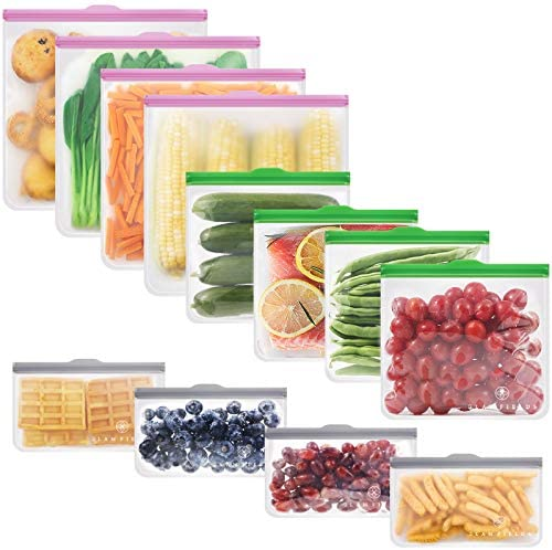 GLAMFIELDS Reusable food Storage Bags 12 Pack Leakproof Freezer BPA FREE Bag 4 Reusable Gallon product image