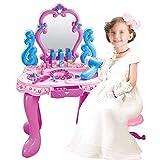 ouruanyang Tocador para niños Juego de Mesa Tocador de simulación Música Ligera Fantasía Chica Princesa Cosméticos Juguete Tocador para niños Juguete (Color: Rosa, Tamaño: 70x40x30cm)