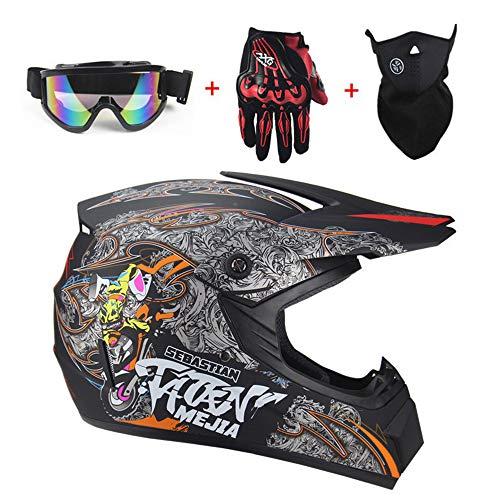 Casco da Cross Moto Set con Occhiali Maschera Guanti Uomini e Donne Caschi Integrali Moto off-Road DH Enduro Casco ATV MTB BMX Quad Casco da Motociclista LEENY Casco di Motocross in Stile UFO