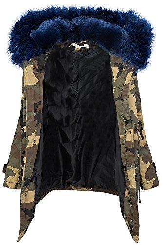 Damen Winter Parka Kunstfell Kapuze Army-Look warm [D-197 - Blau - Gr. S]