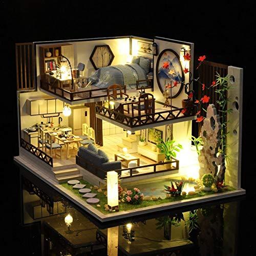 perfecthome Weihnachten Holzhäuser DIY Holzhaus LED Weihnachtshäuser Dekoration Haus Anhänger Häuschen Weihnachtsdeko Fensterdeko Licht Party Basteln Kinder Geschenk