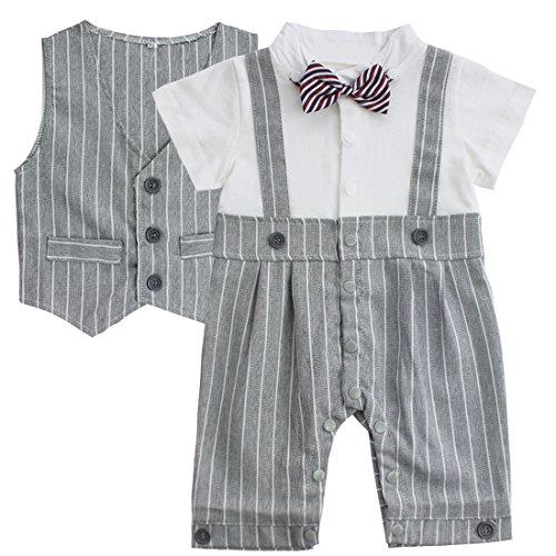 IEFIEL Notable Vêtement des Bébés garçon Combishort + Gilet rayé Noeud Gentleman 0-18 Mois (12-18 Mois, Gris)