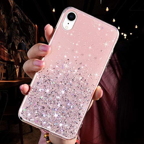 QPOLLY Coque Brillante Compatible avec iPhone XR, Transparent Paillettes Étoile Bling Glitter Coque Ultra Mince Silicone TPU Souple Gel Bumper Clear Antichoc Housse Étui de Protection,Rose
