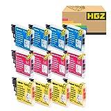 HGZ 12 Pack Color Compatible Ink Cartridge Replacement for LC-16 LC-68 LC-11 LC-38 LC-65 LC-980 LC-1100 LC-61 Brother MFC-490CW 495CW J615W J630W 790CW 290C 5490CN 5890CN 6490CW DCP-165C 385C 585CW