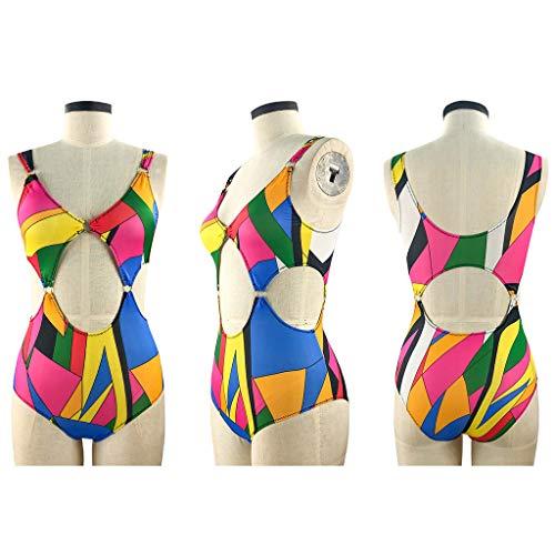OSELLINE 2021 Nuevo Traje de baño de una Pieza, Trajes de baño de Talla Grande para Mujer Onepiece Hollow out Colorful Swimwear Bikini 2#