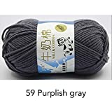 LINGE 50G / Bola Hilo para Tejer Hilo de algodón de Leche Bufanda de InviernoHilo de Lana de bebé Manta Suéter Bufanda Hilo Textil para el hogar, 59 Gris violáceo