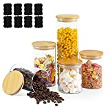 Set of 5 Glass Jars with Bamboo Lids, Color4day Stackable Glass Food Storage Containers Set with Airtight Lid for Kitchen, Pantry Organization and Storage, Kitchen Canisters Sets, Glass Food Jars, Pantry Jars