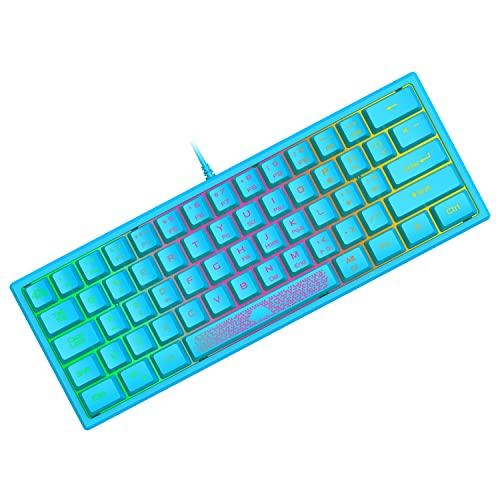 Tastiera da Gioco Portatile Cablata al 60%, Retroilluminata 7 RGB, Layout QWERTY Tastiera a Membrana con Sensazione Meccanica con 19 Tasti Anti-ghosting Mini Compact 62 Tasti, per PC ps4 Mac/Blu